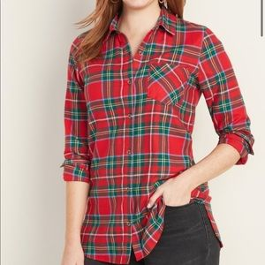 Old Navy red flannel tunic shirt